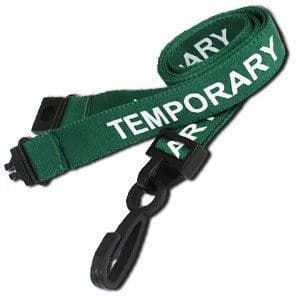 Green TEMPORARY lanyards, 25 Pack